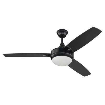 52 Wesneski 3 Blade Ceiling Fan with Remote Finish: Gloss Black