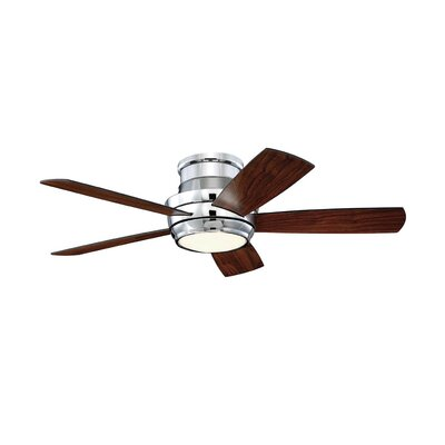 Contemporary 44 Cedarton Hugger 5 Blade Ceiling Fan with Remote Finish: Chrome with Walnut/Matte Black Blades