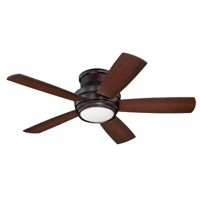 Contemporary 44 Cedarton Hugger 5 Blade Ceiling Fan with Remote Finish: Oiled Bronze with Walnut/Matte Black Blades