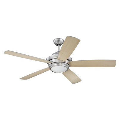 52 Cedarton 5-Blade Ceiling Fan Finish: Brushed Polished Nickel with Silver/Maple Blades