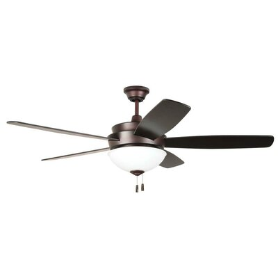 52 Bree 5 Blade Reversible LED Ceiling Fan Glass Type: White Frost
