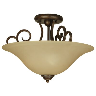 Jeppesen 3-Light Semi Flush Mount Finish: Peruvian