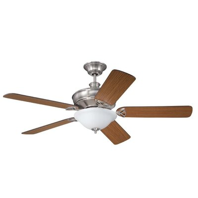 56 Gambrel 5-Blade Ceiling Fan with Wall Remote Finish: Brushed Polished Nickel with Teak/Walnut Blades