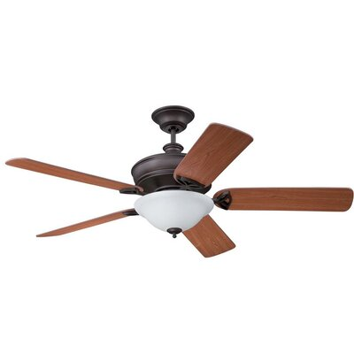 56 Gambrel 5-Blade Ceiling Fan with Wall Remote Finish: Aged Bronze Brushed with Golden/Aged Cherry Blades