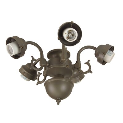 Compact Fluorescent Decorative Scroll Ceiling Fan Light Fitter Finish: Aged Bronze
