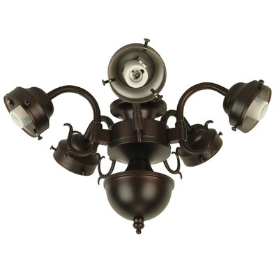 Compact Fluorescent Decorative Scroll Ceiling Fan Light Fitter Finish: Oiled Bronze
