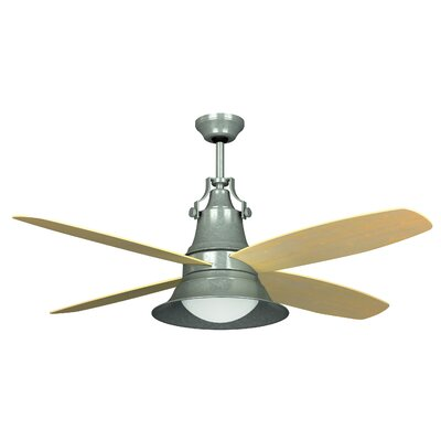 52 Union 4-Blade Ceiling Fan with Wall Control and Remote Finish: Galvanized with Light Oak Blades