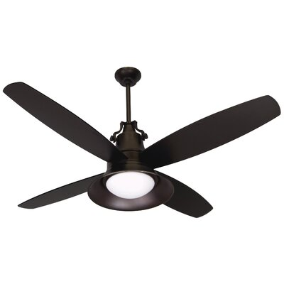 52 Barys 4 Blade LED Ceiling Fan with Remote Finish: Oiled Bronze Gilded with Oiled Bronze Blades