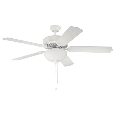 52 Maen 5-Blade Ceiling Fan Finish: White
