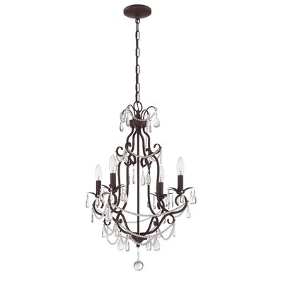 Birrell 4-Light Crystal Chandelier Finish: Aged Bronze Textured