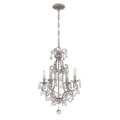 Birrell 4-Light Crystal Chandelier Finish: Antique Silver