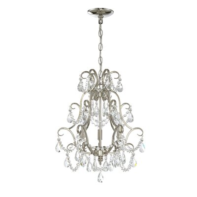 3-Light Crystal Chandelier Finish: Polished Nickel