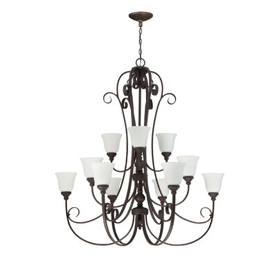 Barrett Place 12-Light Shaded Chandelier Finish: Metropolitan Bronze
