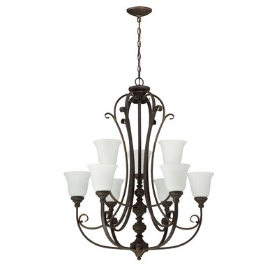 Chalfont 9-Light Shaded Chandelier Finish: Metropolitan Bronze