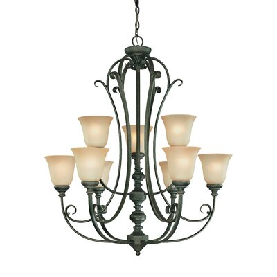 Chalfont 9-Light Shaded Chandelier Finish: Mocha Bronze