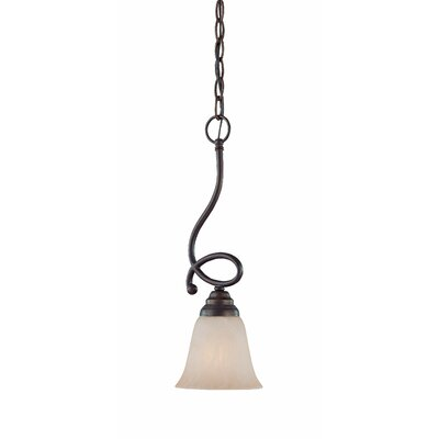 Ellis 1-Light Mini Pendant Finish: Old Bronze with Amber Tinted Faux Alabaster Glass
