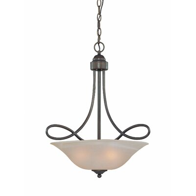 Ellis 3-Light Inverted Pendant Finish: Old Bronze with Amber Tinted Faux Alabaster Glass