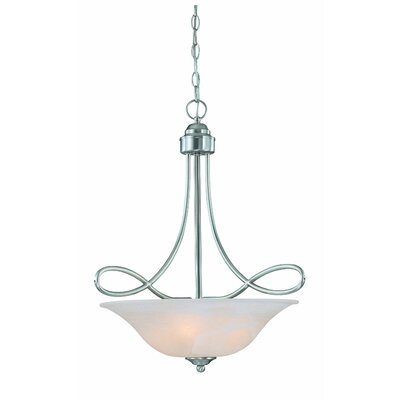 Ellis 3-Light Inverted Pendant Finish: Satin Nickel with White Faux Alabaster