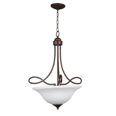 Ellis 3-Light Inverted Pendant Finish: Oiled Bronze with White Frosted Glass