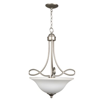 Ellis 3-Light Inverted Pendant Finish: Satin Nickel with White Frosted Glass