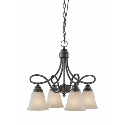 Ellis 4-Light Shaded Chandelier Finish: Old Bronze with Amber Tinted Faux Alabaster Glass