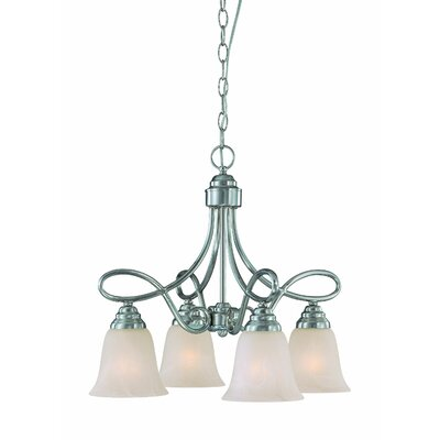 Ellis 4-Light Shaded Chandelier Finish: Satin Nickel with White Faux Alabaster
