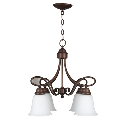 Cordova 4-Light Shaded Chandelier Finish: Oiled Bronze with White Frosted Glass