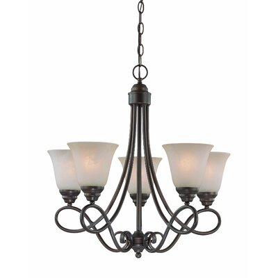 Ellis 5-Light Shaded Chandelier Finish: Old Bronze with Amber Tinted Faux Alabaster Glass