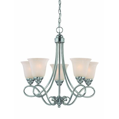 Ellis 5-Light Shaded Chandelier Finish: Satin Nickel with White Faux Alabaster
