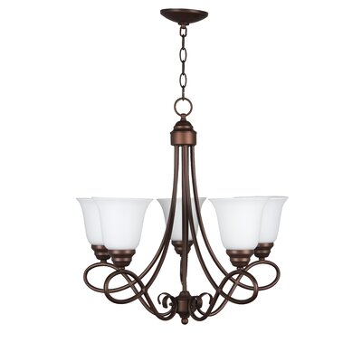 Ellis 5-Light Shaded Chandelier Finish: Oiled Bronze with White Frosted Glass