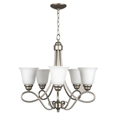 Ellis 5-Light Shaded Chandelier Finish: Satin Nickel with White Frosted Glass