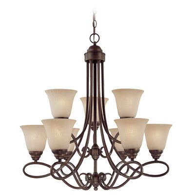 Ellis 9-Light Shaded Chandelier Finish: Old Bronze with Amber Tinted Faux Alabaster Glass