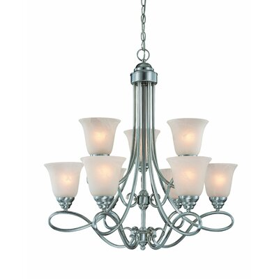 Ellis 9-Light Shaded Chandelier Finish: Satin Nickel with White Faux Alabaster