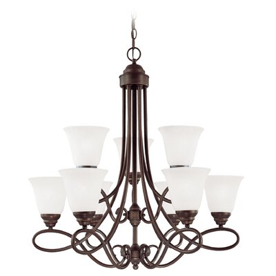 Ellis 9-Light Shaded Chandelier Finish: Oiled Bronze with White Frosted Glass
