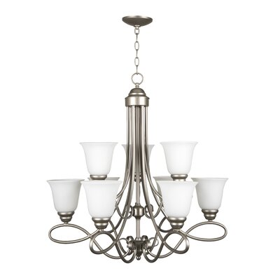 Cordova 9-Light Shaded Chandelier Finish: Satin Nickel with White Frosted Glass