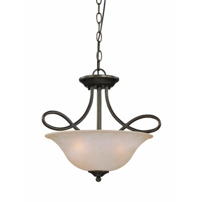 Ellis 3-Light Semi Flush Mount Finish: Old Bronze with Amber Tinted Faux Alabaster Glass