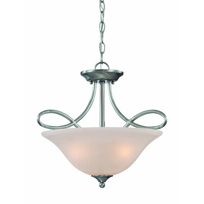 Ellis 3-Light Semi Flush Mount Finish: Satin Nickel with White Faux Alabaster
