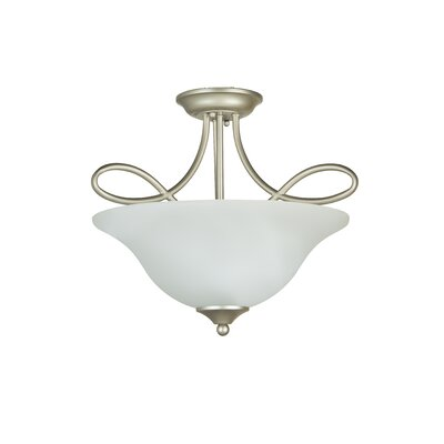 Ellis 3-Light Semi Flush Mount Finish: Satin Nickel with White Frosted Glass