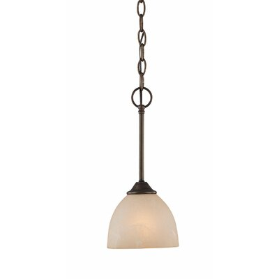 Raleigh 1-Light Mini Pendant Finish: Old Bronze with Amber Tinted Faux Alabaster