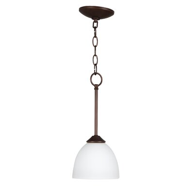 Ora 1-Light Mini Pendant Color: Oiled Bronze with White Frosted Glass