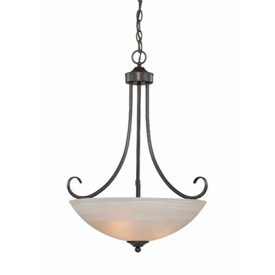 Ora 3-Light Bowl Pendant Color: Old Bronze with Amber Tinted Faux Alabaster