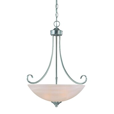 Ora 3-Light Bowl Pendant Color: Satin Nickel wtih White Faux Alabaster