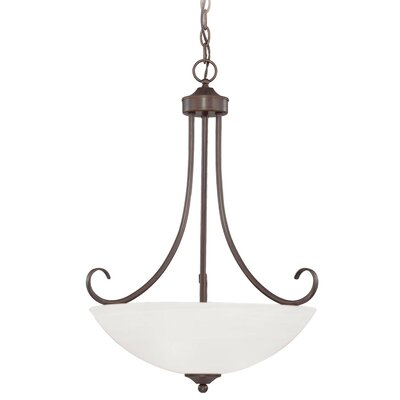 Ora 3-Light Bowl Pendant Color: Oiled Bronze with White Frosted Glass