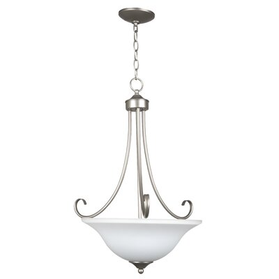 Ora 3-Light Bowl Pendant Color: Satin Nickel with White Frosted Glass