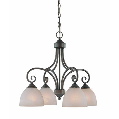 Ora 4-Light Shaded Chandelier Finish: Old Bronze with Amber Tinted Faux Alabaster