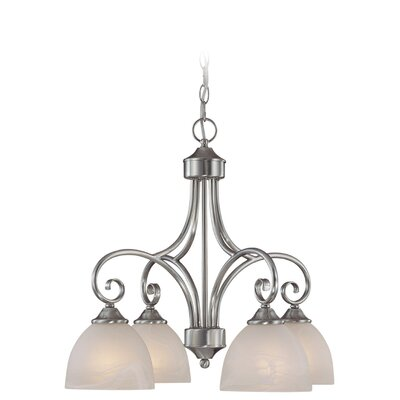 Ora 4-Light Shaded Chandelier Finish: Satin Nickel wtih White Faux Alabaster