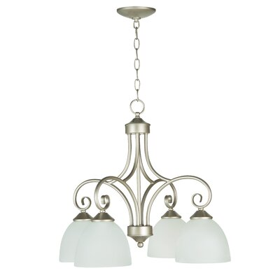 Ora 4-Light Shaded Chandelier Finish: Satin Nickel with White Frosted Glass