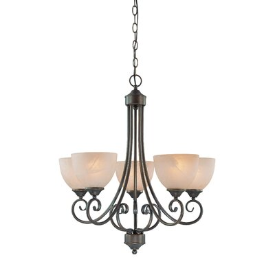 Ora 5-Light Shaded Chandelier Color: Old Bronze with Amber Tinted Faux Alabaster