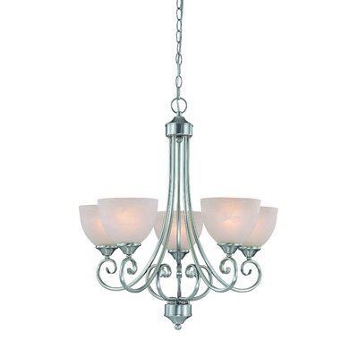 Ora 5-Light Shaded Chandelier Color: Satin Nickel wtih White Faux Alabaster