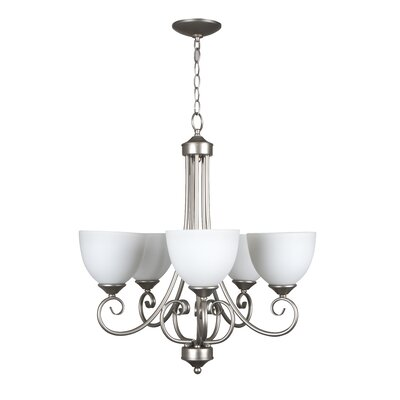 Ora 5-Light Shaded Chandelier Color: Satin Nickel with White Frosted Glass